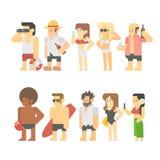 Diseño plano de gente de la playa Fotos de archivo