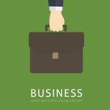 Diseño plano de hombre de negocios Holding una cartera stock de ilustración
