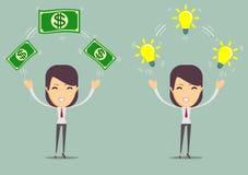 Diseño plano de ideas y de dinero del negocio de intercambio Concepto de la idea del asunto Ilustración del vector Aislado Imagen de archivo libre de regalías