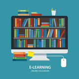 Diseño plano de la biblioteca del concepto en línea de la educación