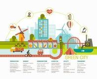 Diseño plano de la ciudad verde Ejemplo de la ciudad de Eco con los diversos iconos y símbolos Foto de archivo libre de regalías