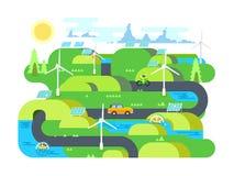 Diseño plano de la energía verde ilustración del vector