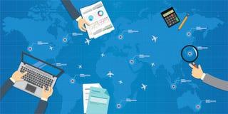 Diseño plano de la gestión de las líneas aéreas Foto de archivo libre de regalías