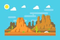 Diseño plano de la montaña del oeste salvaje de Arizona Foto de archivo