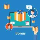 Diseño plano de la oferta de la promoción de las ventajas de empleado de la recompensa de la prima Foto de archivo