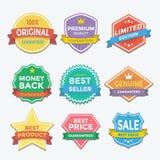 Diseño plano de la promoción de las insignias y de las etiquetas del color Imágenes de archivo libres de regalías