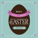 Diseño plano de la tarjeta de felicitación del huevo de Pascua del chocolate Foto de archivo