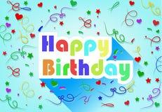 Diseño plano de la tarjeta del feliz cumpleaños con la cinta y el corazón Imagen de archivo