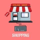 Diseño plano de las compras en línea Imágenes de archivo libres de regalías