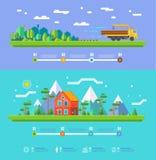 Diseño plano de los elementos infographic del ejemplo de la ecología del vector libre illustration