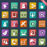 Diseño plano de los iconos de la comunicación Foto de archivo libre de regalías