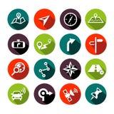 Diseño plano de los iconos de la navegación Imagen de archivo