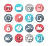 Diseño plano de los iconos de la productividad Fotos de archivo