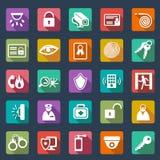 Diseño plano de los iconos de la seguridad stock de ilustración
