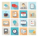 Diseño plano de los iconos del negocio Imagen de archivo