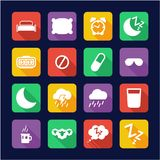 Diseño plano de los iconos del sueño o el dormir Imagenes de archivo
