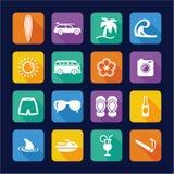 Diseño plano de los iconos que practica surf Fotografía de archivo