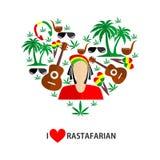 Diseño plano de Rastafarian Fotografía de archivo libre de regalías