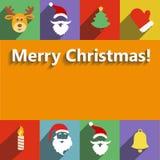 Diseño plano del Año Nuevo de Papá Noel y de la Navidad Imagen de archivo libre de regalías