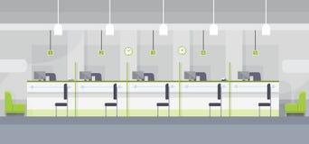 Diseño plano del banco de la oficina de Chashier del escritorio interior moderno del lugar de trabajo Imagen de archivo