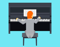 Diseño plano del carácter de Piano Player Concept del pianista Imagen de archivo libre de regalías