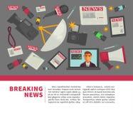 Diseño plano del cartel del vector de las noticias de última hora y de la profesión del periodismo de artículos de trabajo del pe Foto de archivo libre de regalías
