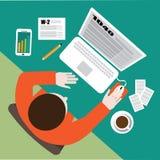 Diseño plano del día del impuesto Completar la preparación del impuesto sobre la renta de los formularios de impuesto en el orden Imagen de archivo libre de regalías