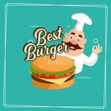 Diseño plano del ejemplo del vector de la historieta del cocinero del mejor de la hamburguesa logotipo gordo de la etiqueta engom libre illustration