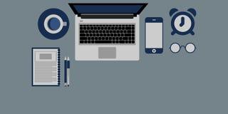Diseño plano del escritorio de oficina Fotos de archivo