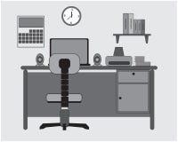 Diseño plano del escritorio del estudio con el ordenador portátil ilustración del vector