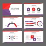 Diseño plano del folleto del aviador del prospecto de la plantilla multiusos púrpura y roja del sitio web Imagen de archivo libre de regalías