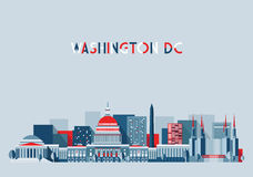 Diseño plano del horizonte del ejemplo del Washington DC Fotografía de archivo