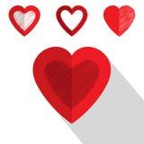 Diseño plano del icono del corazón del día de San Valentín Foto de archivo