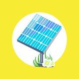 Diseño plano del icono del panel solar ilustración del vector