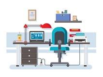 Diseño plano del lugar de trabajo de la oficina Foto de archivo libre de regalías