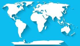 Diseño plano del mapa del mundo Fotografía de archivo libre de regalías