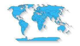 Diseño plano del mapa del mundo Foto de archivo