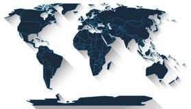 Diseño plano del mapa del mundo Fotos de archivo