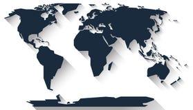 Diseño plano del mapa del mundo Fotos de archivo libres de regalías