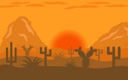 Diseño plano del paisaje del desierto Fotos de archivo