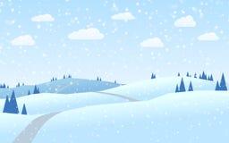 Diseño plano del paisaje del invierno de las colinas stock de ilustración