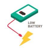 Diseño plano del smartphone bajo de la batería Imagenes de archivo