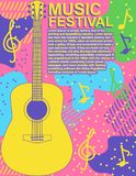 Diseño plano del vector de la guitarra de la roca del festival de música del cartel del ejemplo de la música del cartel del aviad ilustración del vector