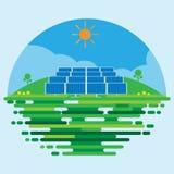 Diseño plano del vector del fondo de la escena de la central eléctrica fotovoltaica o de la granja solar Imagenes de archivo