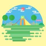 Diseño plano del vector del fondo de la escena del patio Imagen de archivo libre de regalías