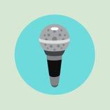 Diseño plano del vector del icono del micrófono ilustración del vector