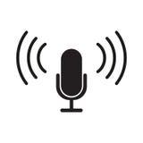 Diseño plano del vector del icono del micrófono Imagen de archivo