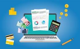 Diseño plano del vector financiero del informe Fotos de archivo libres de regalías