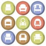 Diseño plano fijado iconos de los sofás Fotografía de archivo