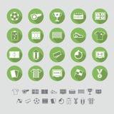 Diseño plano fijado iconos del fútbol Foto de archivo libre de regalías